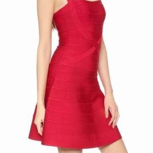 Herve Leger Red criss-cross a-line dress